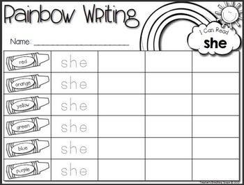 Rainbow Writing --- Fry Words 1-100 With EDITABLE Pages