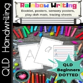 Rainbow Writing Handwriting Practice QLD Beginners font dotted