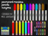 Rainbow Writing Instruments Clipart