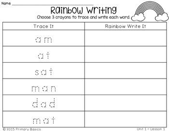 Journeys First Grade Spelling Words Rainbow Writing