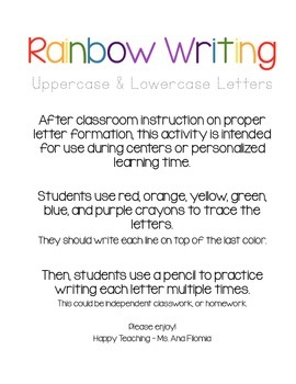 Rainbow Writing Letters (26) Upper and Lower Case