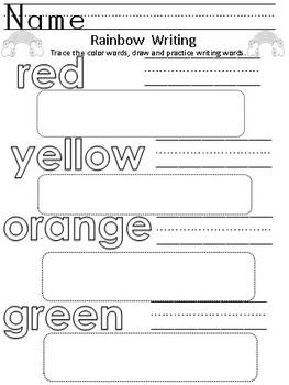 Rainbow Writing Letters, Numbers & Color Words