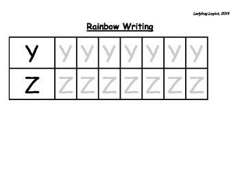 Rainbow Writing - Letters Y-Z