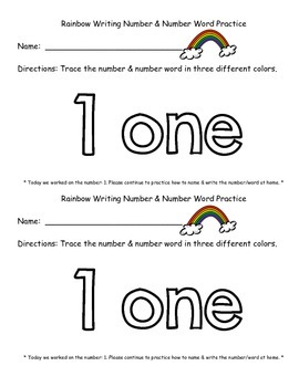Rainbow Writing Number & Number Word Practice