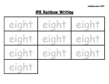 Rainbow Writing - Number Word - Eight - 8