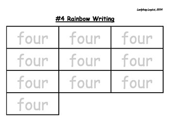 Rainbow Writing - Number Word - Four - 4