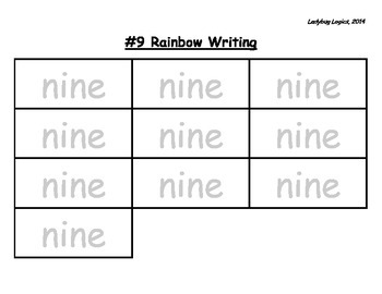 Rainbow Writing - Number Word - Nine - 9