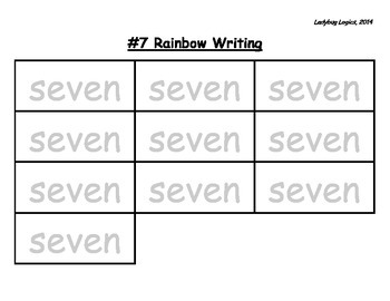 Rainbow Writing - Number Word - Seven - 7