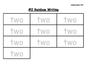 Rainbow Writing - Number Word - Two - 2