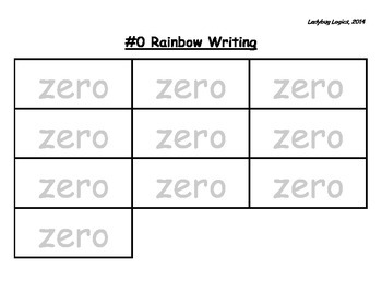 Rainbow Writing - Number Word - Zero - 0