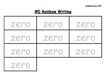 Rainbow Writing - Number Word - Zero - 0