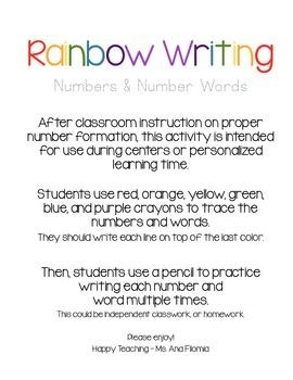 Rainbow Writing Numbers (1-30)