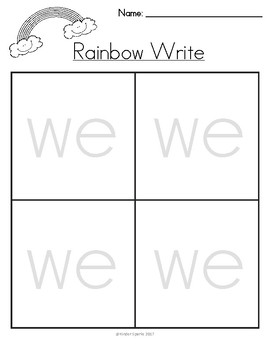Rainbow Writing Packet -for Kindergarten sight words