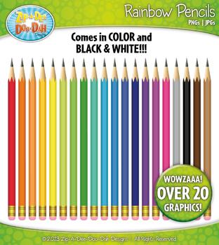 Rainbow Writing Pencils Clipart {Zip-A-Dee-Doo-Dah Designs}