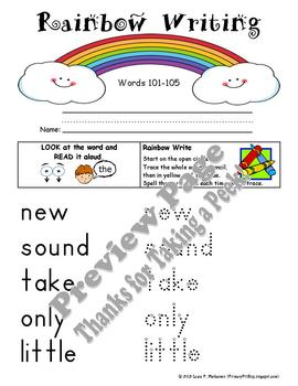 "20 ""Rainbow Writing"" Practice Pages for Fry's SECOND 100 Sight Words"