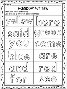 Rainbow Writing Pre-Primer Sight Words