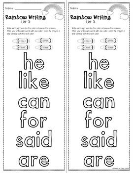 Rainbow Writing Sight Word Activity with EDITABLE version
