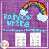 Rainbow Writing Sight Word Activity with EDITABLE version