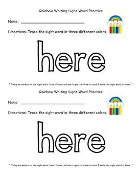 Rainbow Writing Sight Word Practice
