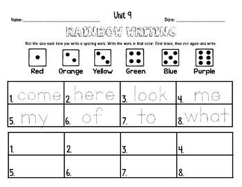 Rainbow Writing Sight Word Practice ~ Kindergarten