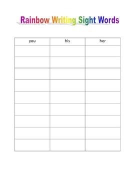 Rainbow Writing Sight Words