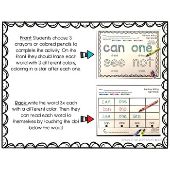 Rainbow Writing Sight Words **Dolch Pre-Primer, Primer, & 1st Grade Word**