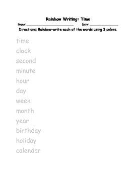 Rainbow Writing: Time Bundle