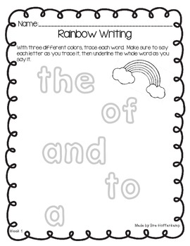 Rainbow Writing for Sight Words
