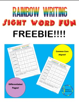 Rainbow Writing using high frequency and sight words for K, 1, 2 Freebie