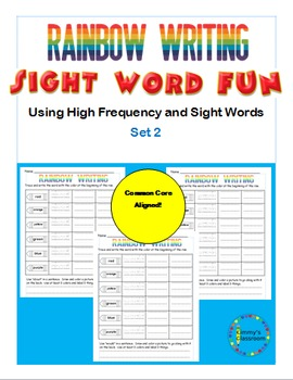 Rainbow Writing using high frequency and sight words for K, 1, 2 - Set 2