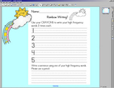 Rainbow Writing worksheet w/ SMARTBOARD display