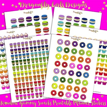 Rainbow Yummy Treats Printable Planner Stickers Kit-6 page 430 stickers