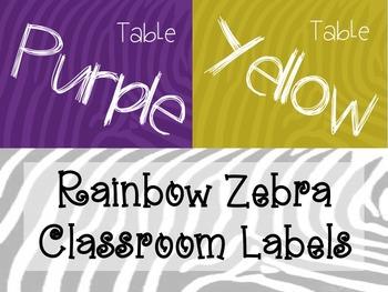 Rainbow Zebra Classroom Labels