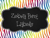 Rainbow Zebra Print Label