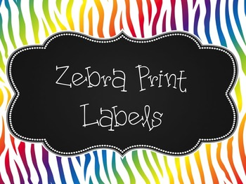 Rainbow Zebra Print Label