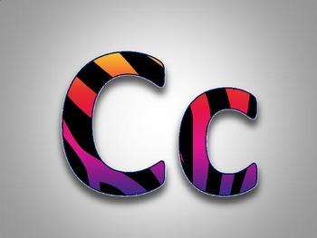 Rainbow Zebra Word Wall Alphabet