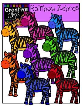 Rainbow Zebras {Creative Clips Digital Clipart}