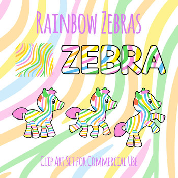 Rainbow Zebras Cute Mascots Clip Art Set for Commercial use