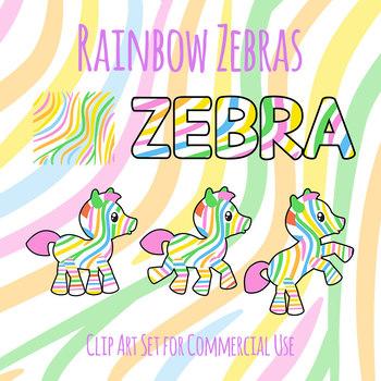 Rainbow Zebras Cute Mascots Clip Art Set for Commercial use