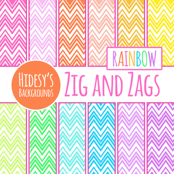 Rainbow Zig Zag Digital Papers / Backgrounds Clip Art Set Commercial Use