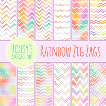 Rainbow Zig Zags Patterns / Digital Papers / Backgrounds Clip Art Commercial Use