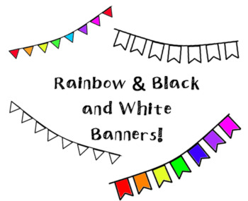 Rainbow and Black and White Banner Clipart