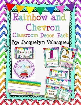 Rainbow and Chevron Classroom Decor