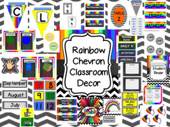 Rainbow and Chevron Classroom Decor Set-EDITABLE