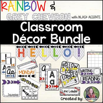 Rainbow and Chevron Theme Decor Pack *Editable*