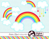 Cipart, Rainbow and Clouds Graphics