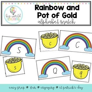 Rainbow and Gold Pot Alphabet Match