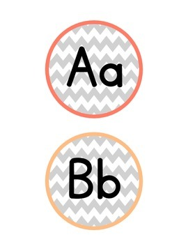 Chevron Word Wall Alphabet Labels (Gray and Rainbow)