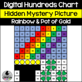Rainbow and Pot of Gold Hundreds Chart Hidden Picture Activity St. Patrick's Day