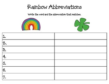Rainbow and Shamrock Abbreviations
